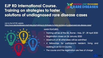 EJP RD International course: Training on strategies to foster solutions of undiagnosed rare disease cases will be held 27-29 April - Register now!